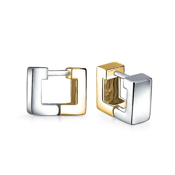 Geometric Two Tone Square Huggie Hoop Kpop Earrings For Women Men Shiny 14K  Gold Plated 925 Sterling Silver