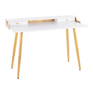 Link to Silver Orchid Creggan Glam Gold Metal & Wood Office Desk Similar Items in Desks & Computer Tables