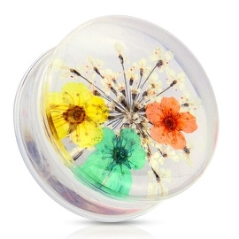 Yellow Dried Flower Clear Acrylic Saddle Fit Plug (Sold Individually)