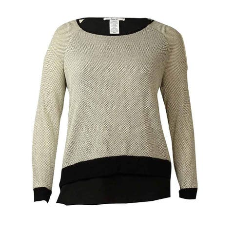 Bar III Women's Knit Contrast Trim Pullover Sweater, White (XXL) - XXL