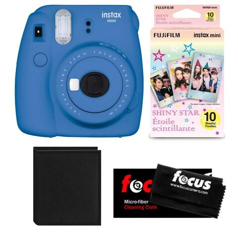 Fujifilm Instax Mini 9 (Cobalt Blue) w/ Shiny Star Film (1-PK) & Photo Wallet