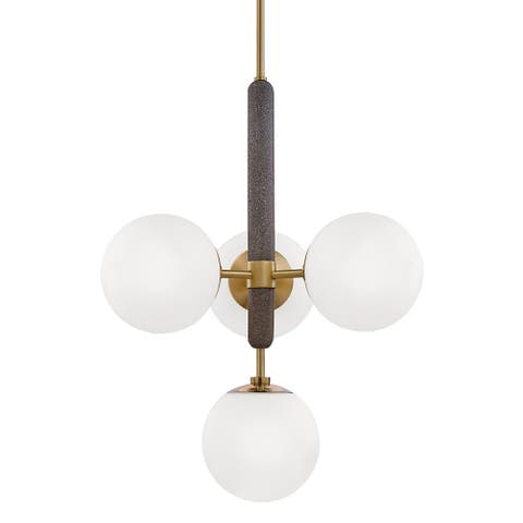 Mitzi by Hudson Valley Brielle 4-light Aged Brass Pendant, Opal Acid Etched Glass