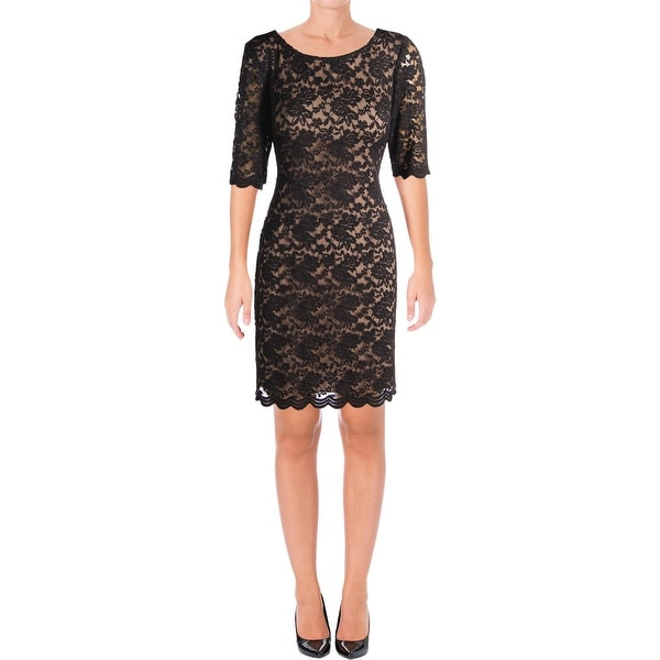 Connected Apparel Womens Cocktail Dress Lace Elbow Sleeves