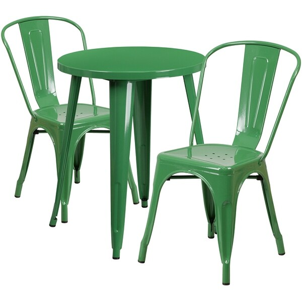 shop brimmes 3pcs round 24 green metal table w 2 cafe chairs