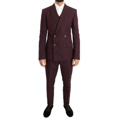 Dolce & Gabbana Bordeaux Slim 3 Piece Double Breasted Men's Suit - it48-m
