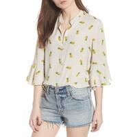 Lush Beige Women's Size XL Pineapple Print Button Down Blouse