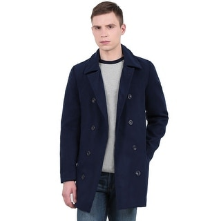 Link to Unique Bargains Men's Long Sleeve Turn Down Collar Worsted Coat - Navy Blue Similar Items in Men's Outerwear