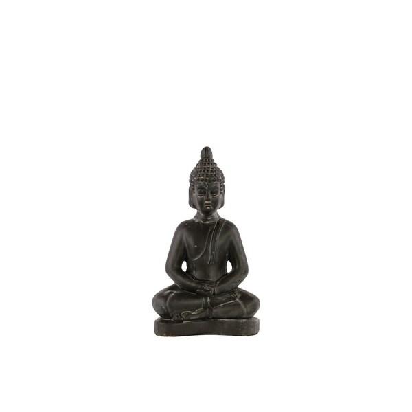 Ceramic Meditating Buddha Figurine With Rounded Ushnisha, Small, Charcoal Gray