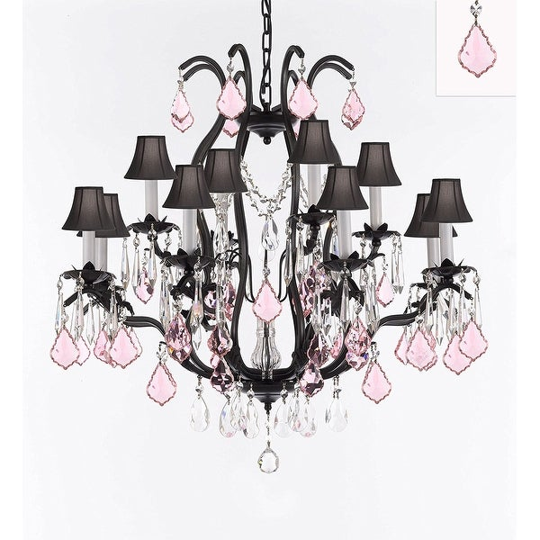 Wrought Iron Crystal Chandelier With Pink Crystals Black Shades