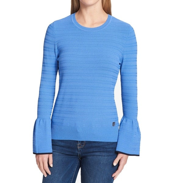 0f7c0ebdc Shop Tommy Hilfiger Blue Women s Size Large L Bell Sleeve Sweater ...