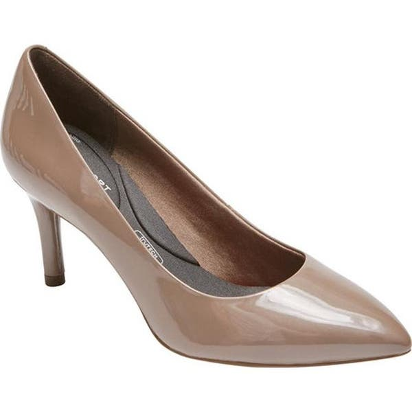 dee66c4837 Rockport Women's Total Motion 75mm Pointed Toe Pump Taupe Grey Pearl Patent