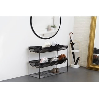 "Umbra 1009488  35"" Wide Steel Two-Tiered Stackable Shoe Rack - Black"