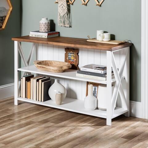 The Gray Barn Farmhouse Pine Wood Bookshelf Console