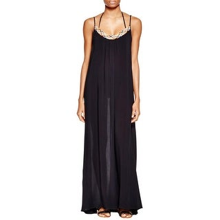 Red Carter Womens Maxi Dress Braided Neck Full-Length