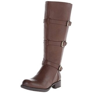 Franco Sarto Womens Petite Motorcycle Boots Wide Calf Faux Leather