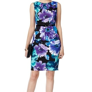 Connected Apparel NEW Blue Women's Size 8 Floral Print Sheath Dress