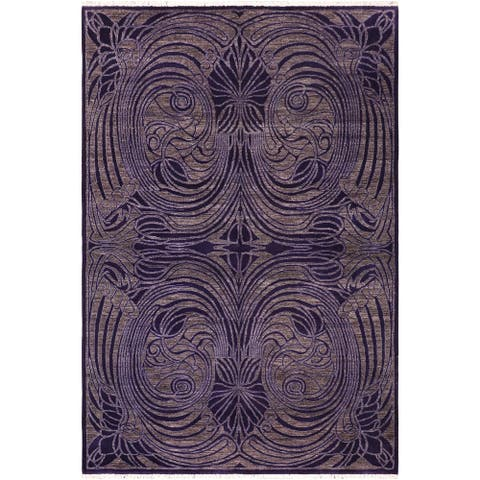 Bohemien Ziegler Marcelen Purple/Brown Hand knotted Rug - 6'0 x 8'6 - 6 ft. 0 in. X 8 ft. 6 in.