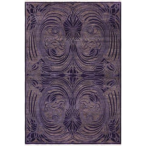 Bohemien Ziegler Marcelen Purple/Brown Hand knotted Rug - 6'0 x 8'6 - 6 ft. 0 in. X 8 ft. 6 in.