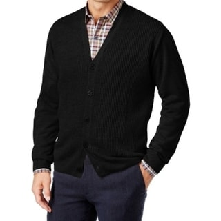 Weatherproof NEW Black Mens Size 3XL Ribbed 5-Button Cardigan Sweater