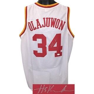 Hakeem Olajuwon signed White TB Custom Stitched Basketball Jersey XL silver sig JSA Witnessed Holog