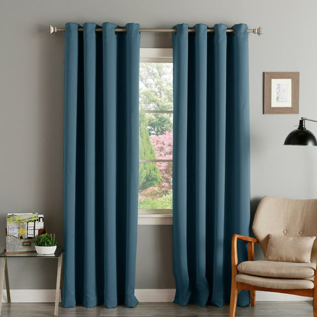 """Aurora Home Thermal Insulated Blackout Grommet Top Curtain Panel Pair - 52"""" w x 72"""" l - Indigo"""