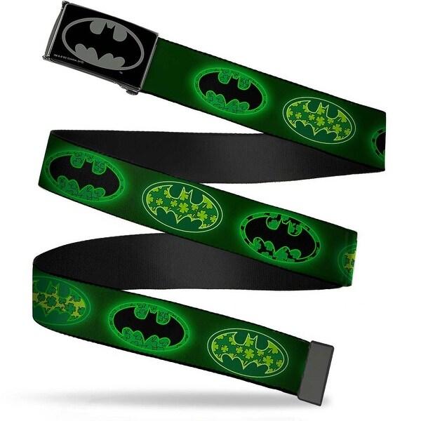 Batman Reverse Brushed Black Silver Black Chrome Clover Bat Shields Web Belt