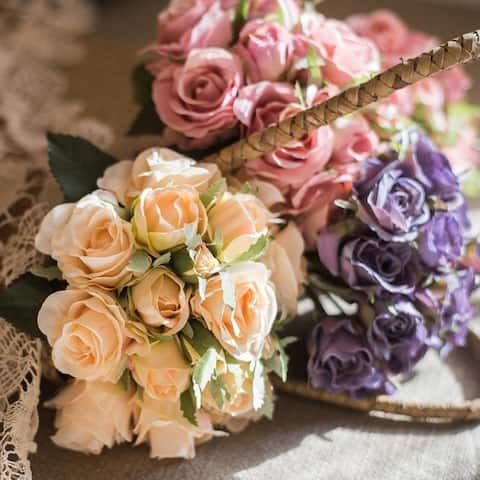 RusticReach Light Pink Purple White Silk Small Rose Bouquet