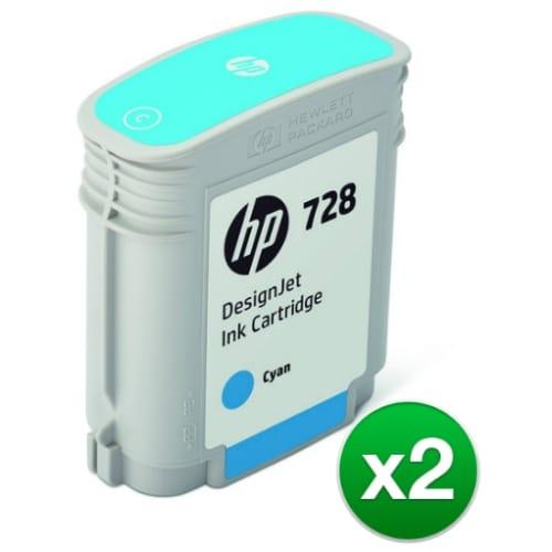 HP 728 Cyan DesignJet Ink Cartridge (F9J63A)(2-Pack)