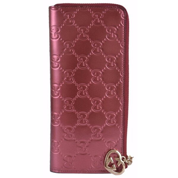2c8d5c13355897 Shop GUCCI Women's 295671 GG Lovely Shine Rose 3/4 Zip Around Wallet Clutch  - Free Shipping Today - Overstock - 12147309