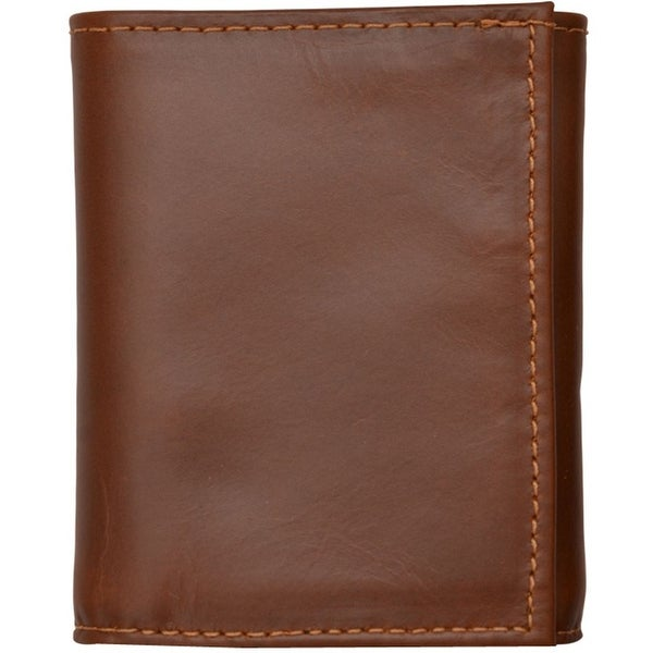 3D Wallet Mens Leather Trifold Basic ID Window Cognac - One size