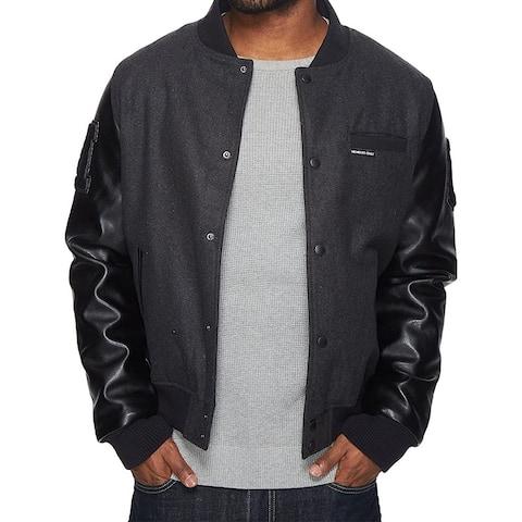 Members Only Mens Black Size Medium M Varsity Faux Leather Jacket