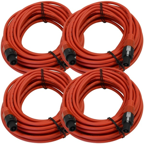 SEISMIC AUDIO 4 Pack of 12 Gauge 50' Red Speakon to Speakon Speaker Cables