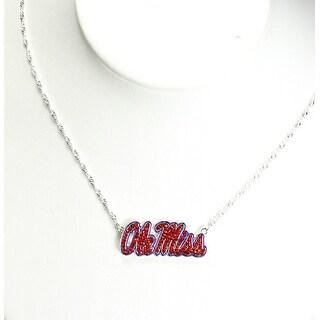 University of Mississippi Crystal Logo Necklace