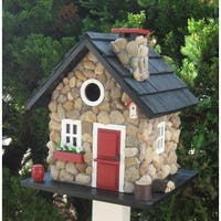"9.5"" Stone Cottage Red Black & White Fully Functional Outdoor Garden Birdhouse - Brown"