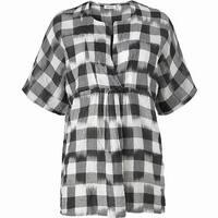 Masai Black White Womens Size XS Plaid Tunic Split Neck Blouse
