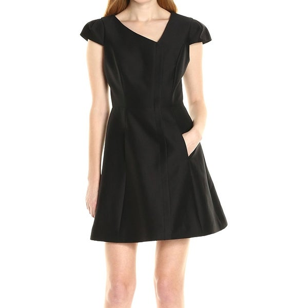 32385ba5fe0 Shop Halston Heritage Black Womens Size 4 Cap Sleeve Sheath Dress ...