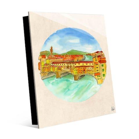 Kathy Ireland Ponte Vecchio Firenze, Florence Italy Vignette on Acrylic Wall Art Print