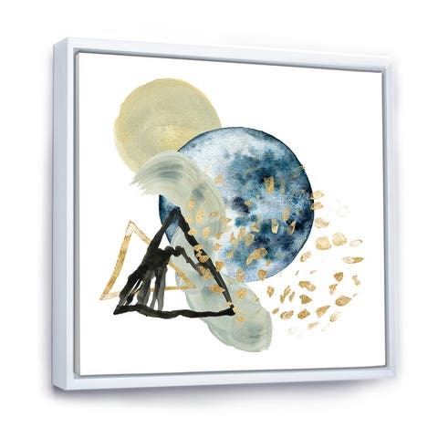 Designart 'Minimalistic Landscape of Mountains With Moon II' Modern Framed Canvas Wall Art Print