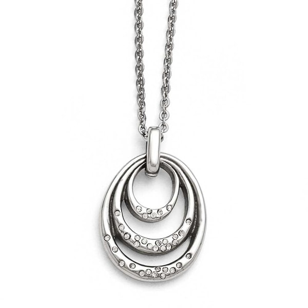 Chisel Stainless Steel CZ Necklace - 20 in