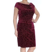 JESSICA HOWARD Womens Burgundy Embellished Printed Cap Sleeve Cowl Neck Knee Length Sheath Cocktail Dress  Size: 14
