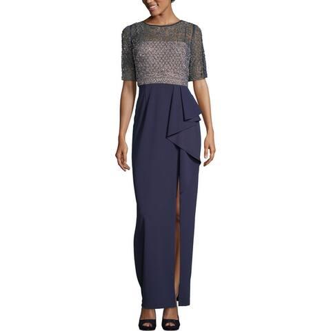 Xscape Womens Evening Dress Embellished Ruffled - Navy