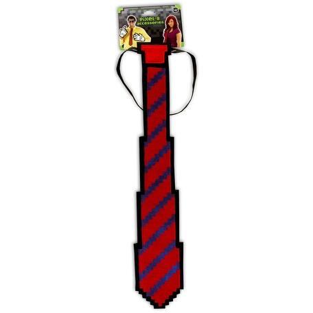 Pixel-8 Costume Neck Tie Adult: Red & Blue