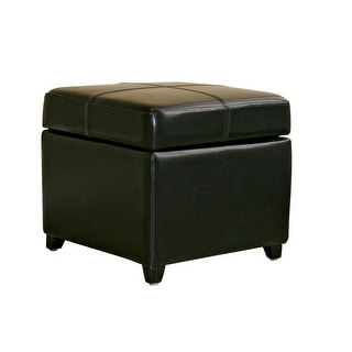 Monica Black Full Leather Storage Cube Ottoman