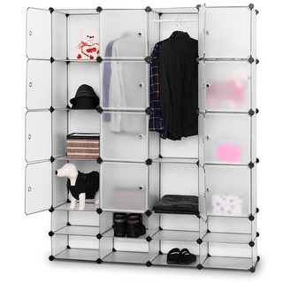 Costway DIY 16+8 Cube Portable Clothes Wardrobe Cabinet Closet Storage Organizer W/Doors - Flash sliver