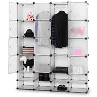 Costway DIY 16+8 Cube Portable Clothes Wardrobe Cabinet Closet Storage Organizer W/Doors - Flash sliver