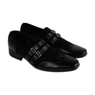Giorgio Brutini Nyne Mens Black Textile Casual Dress Strap Oxfords Shoes
