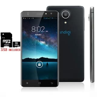 "Indigi Unlocked 4G Android 6.0 Marshmallow SmartPhone 5"" Curved Screen + 32gb included - Black