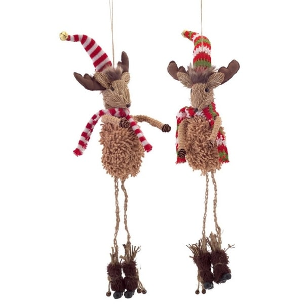 Pack of 6 Sisal and Pine Cone Moose with Hat and Scarf Christmas Ornaments 18""