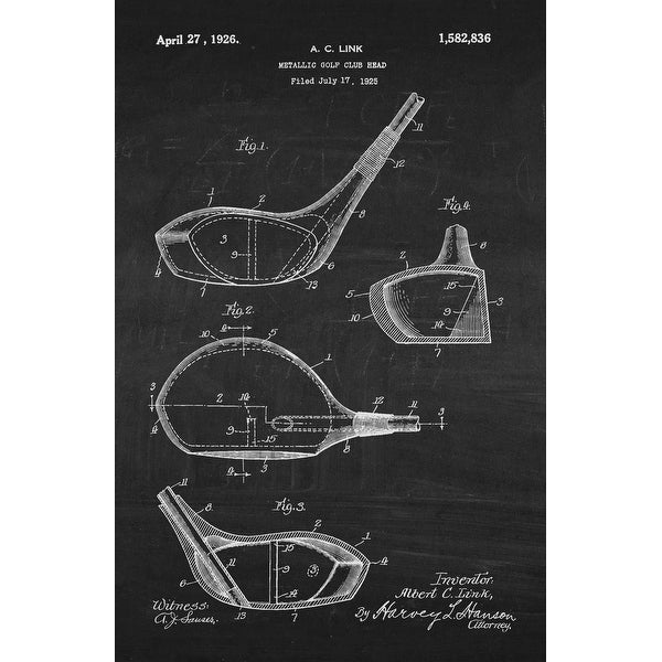Golf Club Head on White on Chalkboard - Patents - 24x16 Matte Poster Print