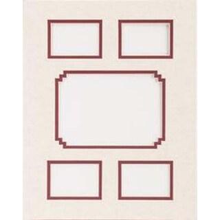 "Linen W/Redwood - Photo Mat 11""X14"" Double W/Multiple Openings"